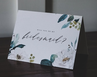 White Floral + Greenery Watercolour Bridesmaid Ask Greeting Card on Textured Card Stock