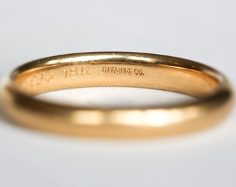c2f36adb2 Vintage Tiffany 18k Yellow Gold Wedding Band with Inscription from June 5,  1954