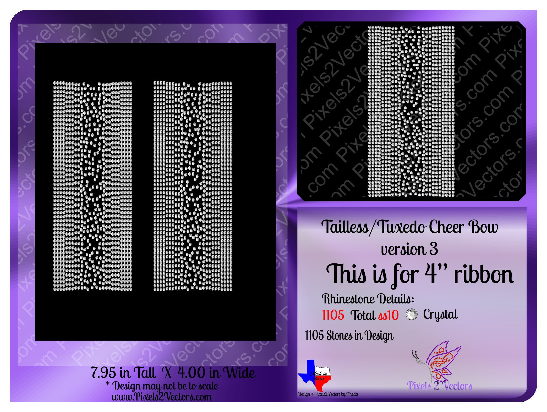 Cheer Bow Rhinestone Bling Instant Download Tailless Bow Etsy