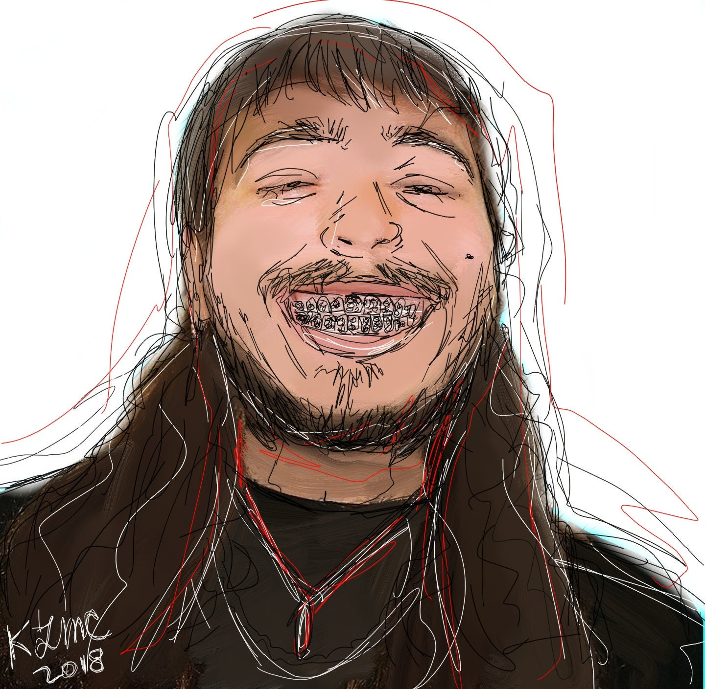 Post Malone Drawing: Post Malone Art Post Malone Painting Posty Art Digital Art
