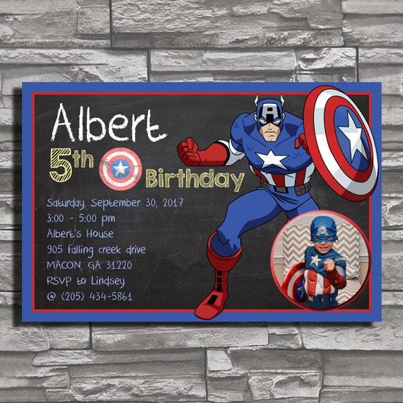 Festa Di Compleanno Di Marvel Capitan America Lavagna Inviti Etsy