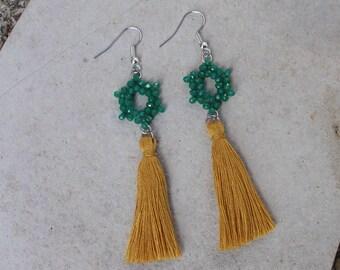 Silver snowflake Emerald tassel earrings gold