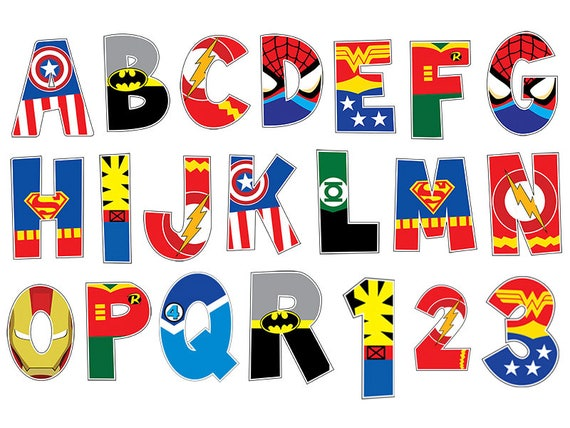 image about Superhero Letters Printable known as Comprehensive Superhero Alphabet Clipart - Large Solution - 4 10 Inches - Printable - Clroom - Decorations - Sbook - Style and design