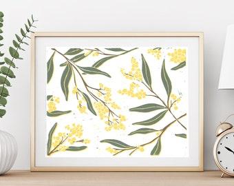 Golden Wattle Flower Lino Block Print / Mixed Media Wall Art
