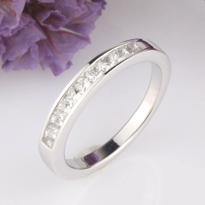 Princess  Square CZ Half Eternity Wedding Engagement Anniversary Channel Set Band Ring  Stackable Sterling Silver Ring  Silver Ring Guard