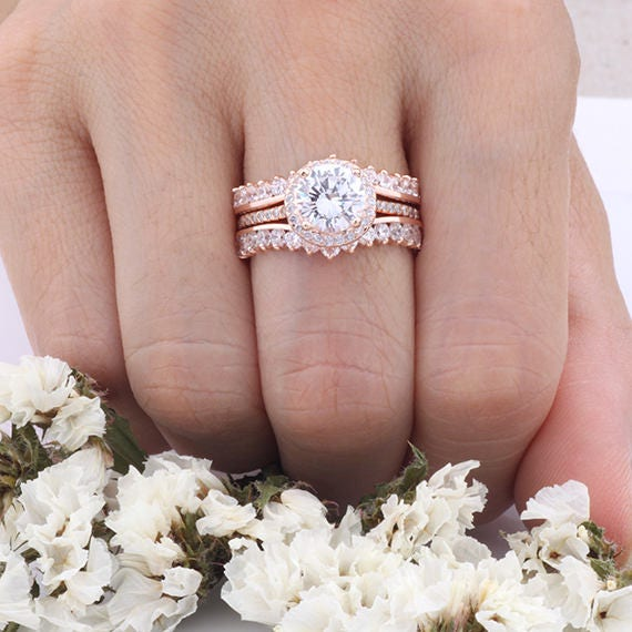 Rose Gold Round CZ Halo Three Rings Bridal Set  3-pieces Art-Deco Engagement Women Rings  Sterling Silver Rings Set