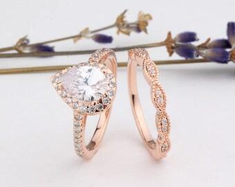 Rose Gold Pear Shaped Halo CZ Ring / Marquise Design Half Eternity Wedding Engagement Band / Rose Gold Wedding Rings Set / Twist Design Band