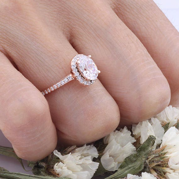 Rose Gold Oval Cut CZ Wedding Ring  Halo CZ Engagement Anniversary Ring  Sterling Silver Ring  Gift for Her  Gift for Mom