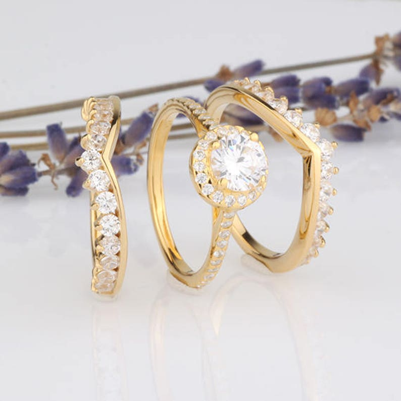 6mm Round Halo CZ 3-pieces Ring Set  Wedding Matching Bridal Set  Yellow Gold Plated over Sterling Silver Women Ring Set  Two Ring Guards