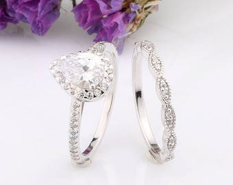 Pear Shaped Halo CZ Ring / Curved Marquise Design Half Eternity Wedding Engagement Silver Band / Sterling Silver Women Rings Set / 2 pieces
