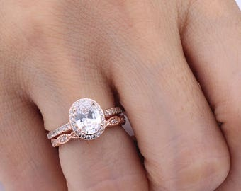 Art Deco Oval CZ Halo Ring Set / Wave Curved Half Eternity Rose Gold Ring Set / Wedding Anniversary Matching Silver Set / Gift for Her