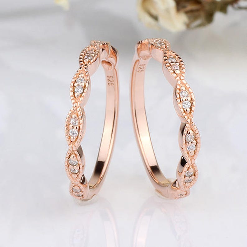 Rose Gold Round CZ Wavy Marquise Half Eternity Engagement Band  Wedding Anniversary Ring Guard  2 pieces Band Rings  Stackable Band Ring