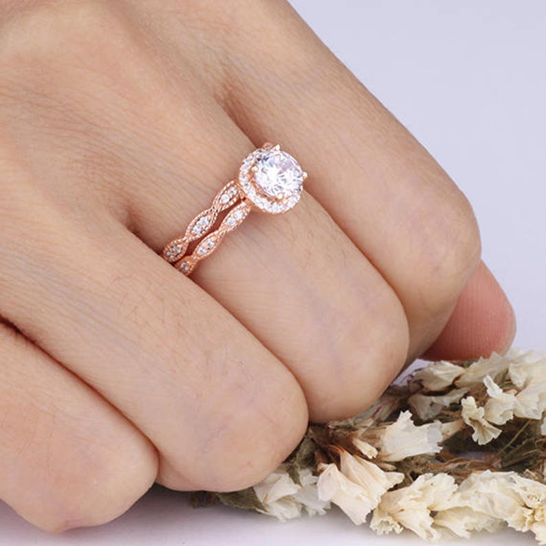 6mm Round CZ Halo Rose Gold Wedding Ring Set  Wavy Curved Marquise Design Half Eternity Rings  Wedding Anniversary Bridal Promise Rings
