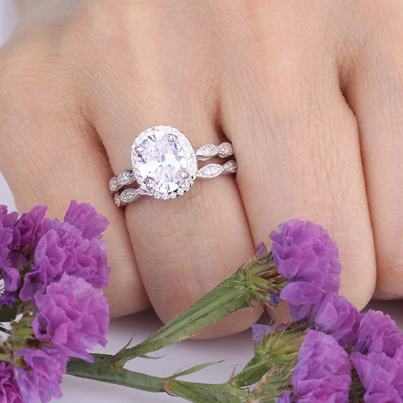 2.5 Carats Oval CZ Halo Ring Set  Wave Curved Art Deco Design Half Eternity Band  Wedding Engagement Anniversary Sterling Silver Rings Set