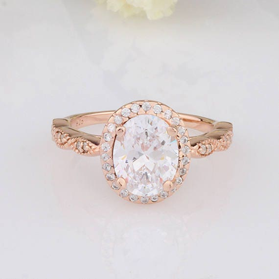 2.5 carats Oval CZ Halo Rose Gold Ring / Vintage Design Half Eternity  Wedding Engagement Ring / Sterling Silver Ring Rose Gold Plated