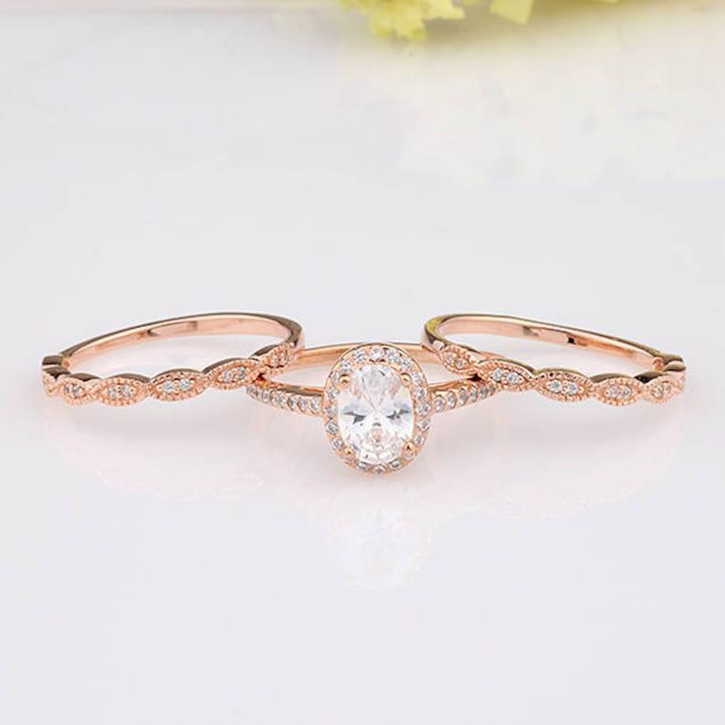 Rose Gold Oval CZ Halo Three Rings Bridal Set / Art-Deco image 0