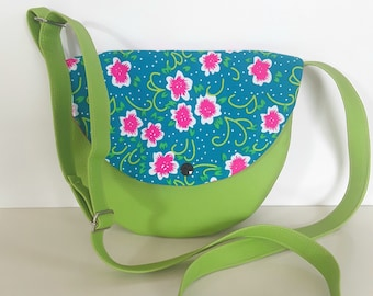 shoulder bag girl fabric and lime green neon pink flowers