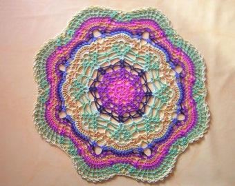 Multicolored dyed doily