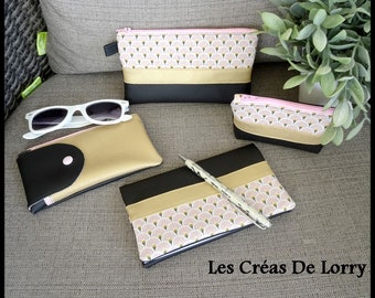 4 piece set case glasses - 1 clutch purse 2, pink door-checkbook black and gold imitation leather fan