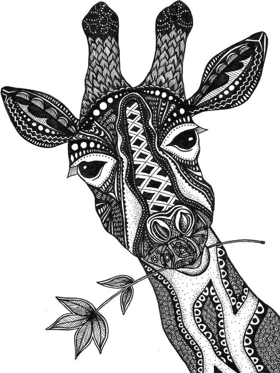 Giraffe print zentangle giraffe drawing art prints black