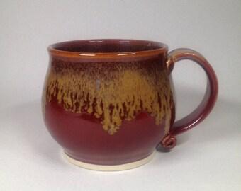pottery mug, ceramic mug, coffee mug, tea mug, red mug, handmade pottery, Beth Deutscher