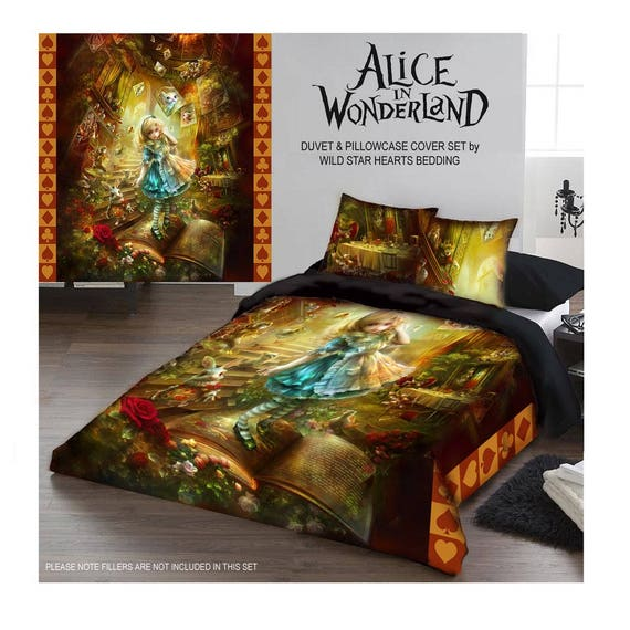 ALICE IN WONDERLAND Duvet Pillow Cases Covers Set Kingsize Etsy Delectable King Size Pillow Case Covers