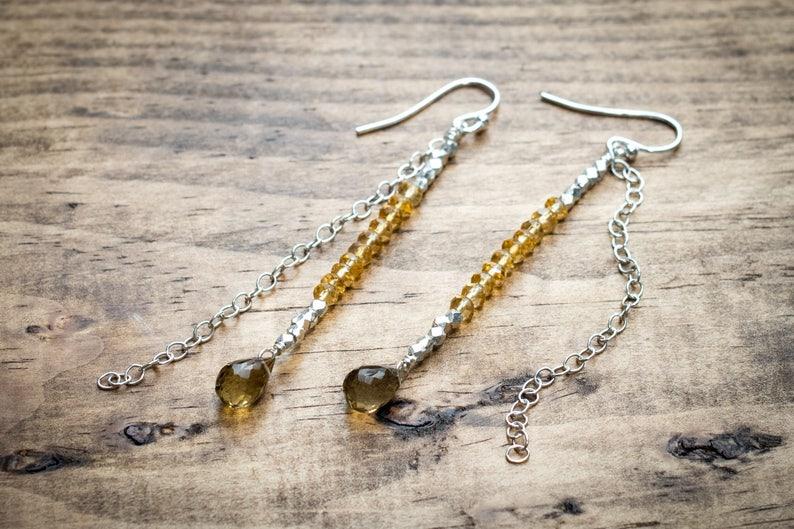 Yellow Crystal Citrine Silver Earrings Thai Silver Gemstone Bar Earrings November Birthstone Jewelry Champagne Quartz Teardrop Earrings