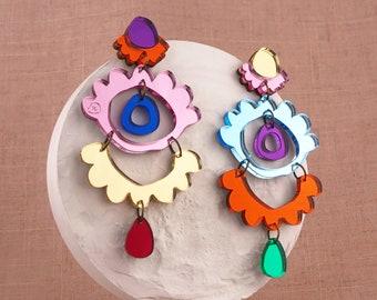 Forlorna Garden Lace Rainbow Chandelier Statement Earrings