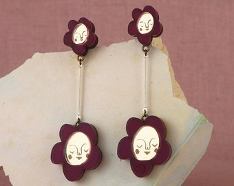 Sundays Bloom Stem flower drop earrings - Purple Plum / Gold