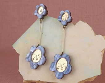 Sundays Bloom Stem flower drop earrings - Cornflower Blue / Gold
