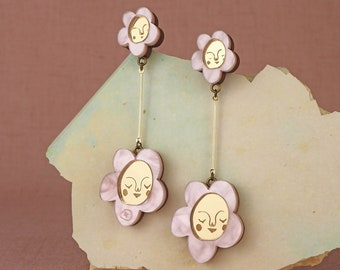 Sundays Bloom Stem flower drop earrings - Pink / Gold