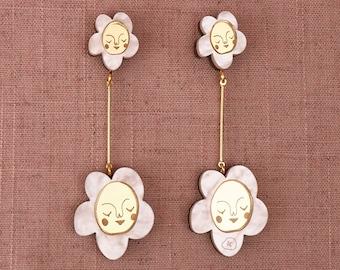 Flower Mountain Double Drop Stud Earrings - Pearl Marble / Gold