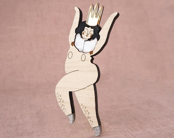 Naked Dancer Brooch with Gold Crown