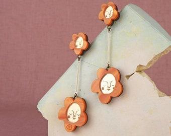 Sundays Bloom Stem flower drop earrings - Orange / Gold