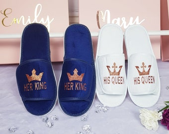 72b5c200f1cbb6 His Queen Her King Couple Spa Slippers