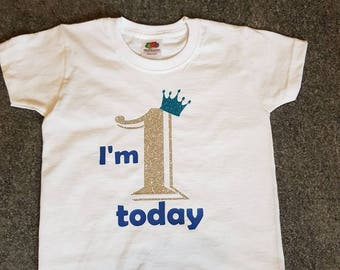 Personalised First Birthday Boy Tshirt Boys 1st Sparkle T Shirt With Crown