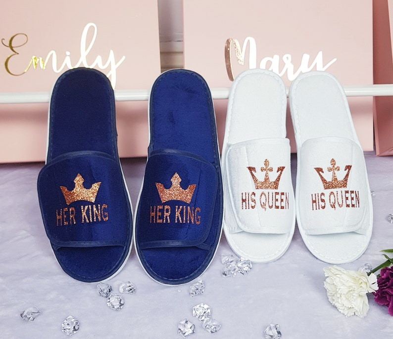 5978ad4b00e54 His Queen Her King Couple Spa Slippers Bride and Groom