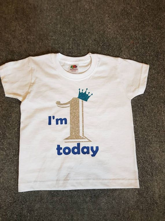 bbb9476bbaf17 Personalised First birthday boy tshirt, boys 1st birthday tshirt, Boys 1st  birthday sparkle tshirt, Boys sparkle t shirt with crown