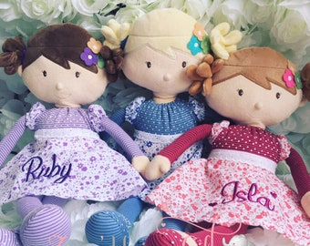 Rag Doll Handmade Dolls For Girls Soft Bear Baby Gift First Birthday Personalised
