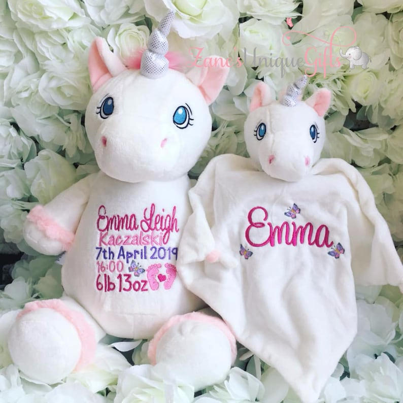 Personalised Baby Blanket Unicorn Name Date Weight Embroidered Baby Girl Gift