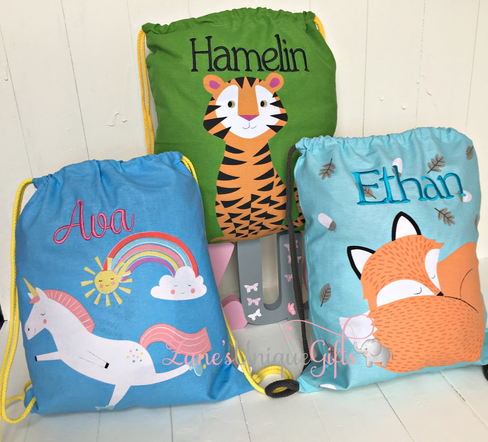 Personalised kids drawstring bags