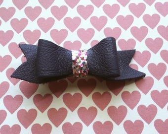 Dark blue leather bow tie with multi-colored glitters