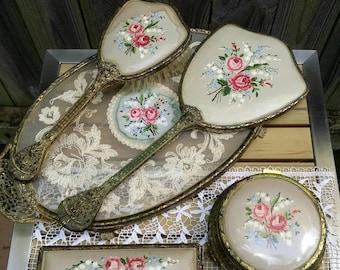 Petit Point Embroidery/English  Vanity Set/Styling Set/Tray, Mirror, Brush, Trinket Jar, Clothes Brush