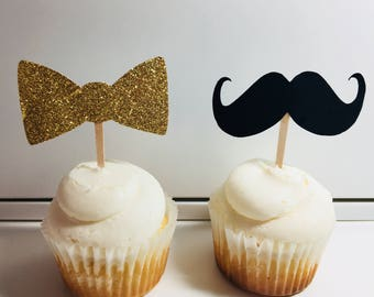 Bows or Mustaches Gender Reveal Cupcake Toppers
