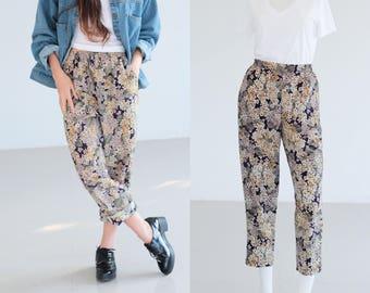 Vintage 80s Japanese Floral print capri pants / boho pants / Vintage pants