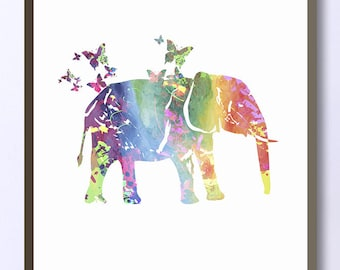 Elephant with butterflies pastel watercolor silhouette, Print Nursery Art Decor Farm Animal Print For Kids Wall Art Animal Print Wall Decor