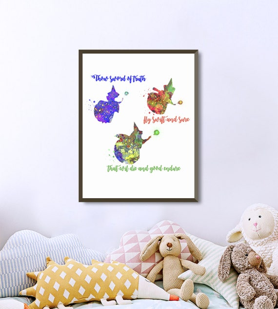 Goodfairies quotes from Sleeping Beauty, Disney Princess Watercolor Wall  Art Printable Nursery gifts Bedroom Decor Baby kids Room poster