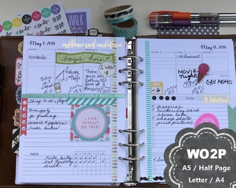 Weekly Planner Printable, 2018, Dated, WO2P, Weekly Planner Inserts, Pages, A5, Half Page, Letter, A4, Filofax, Kikki