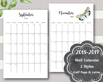 Wall Month Calendar Printable, 2018-2019,  Desk Calendar Printable, Month Calendar, Month Calendar Printable, Half Page, Letter