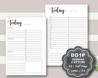 Daily Planner Printable UNdated, Daily Planner Inserts, Daily Planner Pages, DO1P, A5, Half Page, LTR, A4, Day on 1 page, Filofax, Kikki K